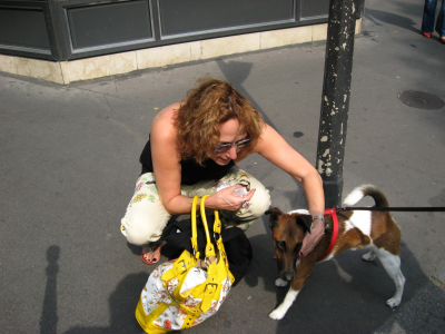 Leslie with Parisienne four legged friend